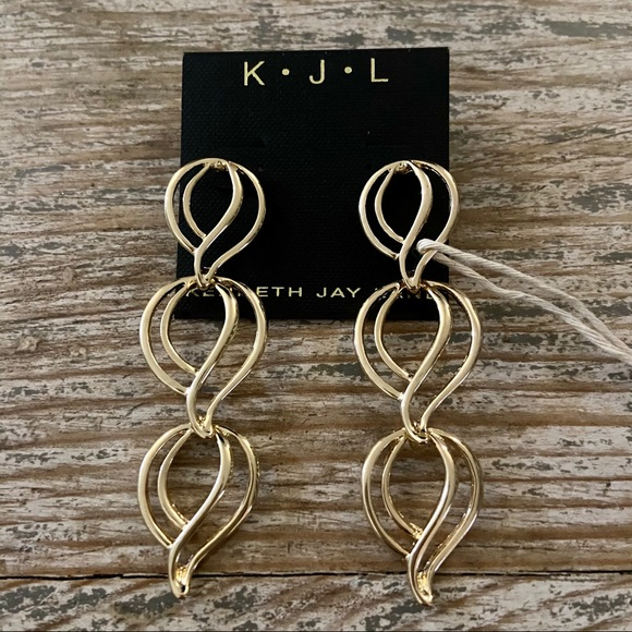 KENNETH JAY LANE GOLD PLATED DROP EARRINGS